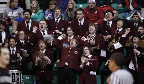 The Harvard band reacts during the second half of the win over New Mexico on Thursday in Salt Lake City.