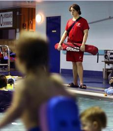 Edward Lehar is a lifeguard at the Charlestown YMCA.