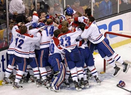 It was pile-on time for the UMass Lowell Riverhawks as they celebrated their 1-0 win over Boston University in the Hockey East final at TD Garden.