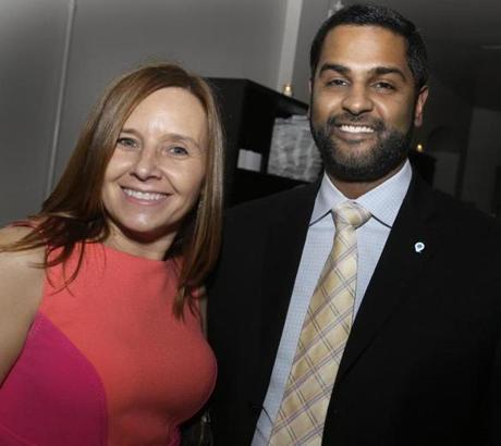 3-24-2013 Boston, Mass. Over 200 guests attended '' Swing into Spring 2013'' Fundraiser to Benefit Fraxa Research Foundation Fragile X Syndrome, the event was held at Stella Restaurant in the South End. L. to R. are Karen Snyder of Brighton and Kiran Reddy of Boston. Globe photo by Bill Brett
