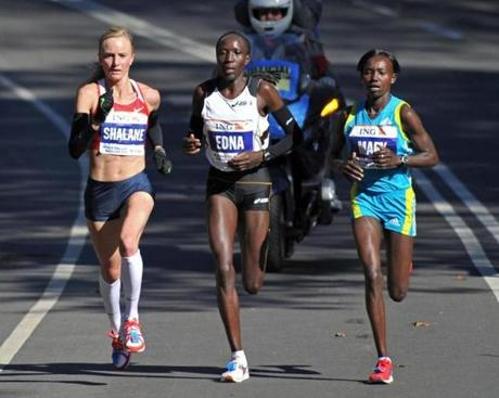 Elite marathoner Shalane Flanagan wears compression socks.