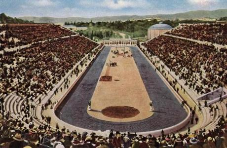 1896: The Olympic stadium in Athens built by the Greek philanthropist Averof for a cost of one million drachmas. It was the scene of the 1896 games. (Photo by Hulton Archive/Getty Images)