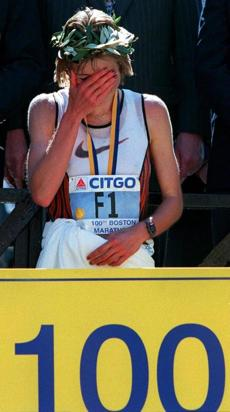 4-15-96: 100th Boston Marathon: An emotional Uta Pippig after winning the womens title for 3rd time straight.bg store / ops / boston marathon / bg store