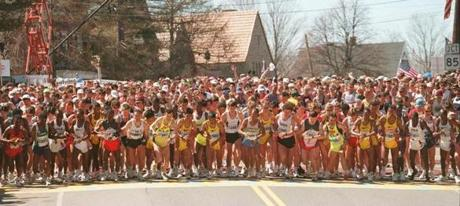 04/15/96-Hopkinton,Ma.; 100th Boston Marathon; the start of the boston marathon, runners off and running at starting linebg store / ops / boston marathon / bg store