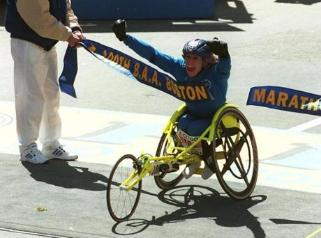 Boston, April 15, 1996--100th Running of the Boston Marathon--Women's wheel chair winner Jean Driscoll crossed the finish line Monday afternoon. Boston Globe Staff Photo Staff Bill Brettbg store / ops / boston marathon / bg store