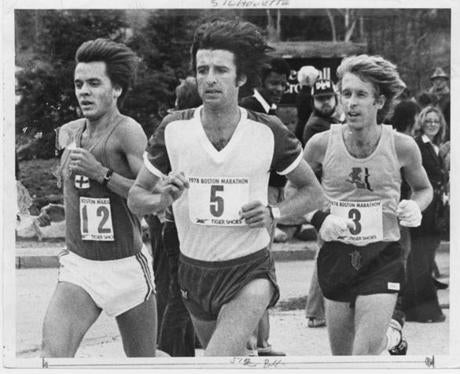 File--BAA 1978 marathon , left to right, 12, Esa Tarkanen, 5, Frank Shorter, 3, winner Bill Rogers