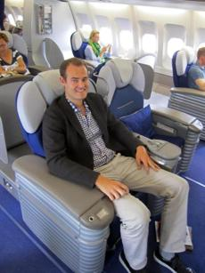 ThePointsGuy.com's Brian Kelly uses the points he racks up to fly free and travel first-class, as here on Lufthansa.