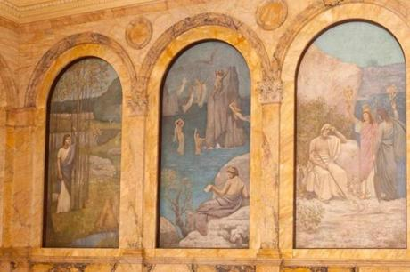 """Pastoral Poetry,"" a panel from Pierre Puvis de Chavannes's allegorical murals at the Boston Public Library, installed between 1895-96, pays tribute to Virgil, whose vision of Arcadia inspired both Gauguin and Cezanne."