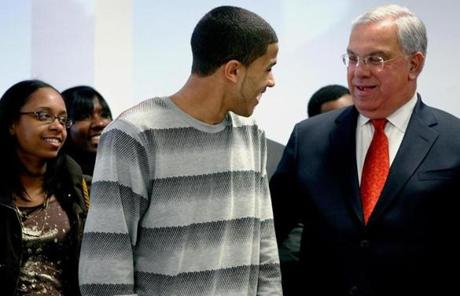 Menino and UMass Boston student Yorling Valdez, 18, of Dorchester, during a Massachusetts Recovery Plan press conference March 27, 2009.