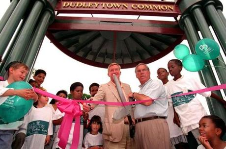 Governor William Weld and Menino prepared to cut the ribbon during a dedication ceremony of Dudley Town Common June 8, 1996. Over his 20 years as mayor, Menino has frequented ribbon cutting and groundbreaking ceremonies.
