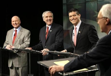 Daniel Winslow, Michael Sullivan, and Gabriel Gomez are GOP candidates.