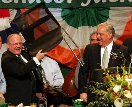 City Councilor Jim Kelly, with whom Menino sparred with on developing the South Boston waterfront for many years, made a joke about holding South Boston parking places with furniture at the Saint Patrick's Day breakfast, March 20, 2005.