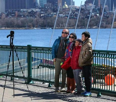 The Azis family from London took a self-portrait along the Charles River in Cambridge  on March 27. From left are Mirza, Shinta, Alvito, and Farhan.