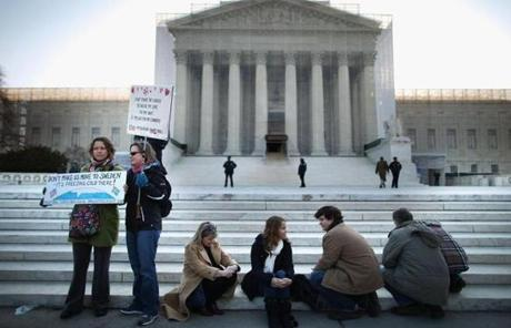 It marked the second day of Supreme Court hearings over whether gay and lesbian couples have a Constitutional right to marry.