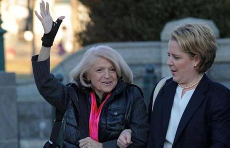 Plaintiff Edith Windsor (left) was ordered to pay  $363,000 in estate taxes following the death of her partner of more than 40 years.
