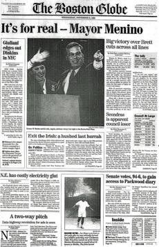 On Non. 2, 1993, Mayor Menino was elected mayor of Bosotn, defeating State Representative James Brett. Prior to the election, Menino was acting mayor for a few months after Ray Flynn resigned to become ambas­sador to the Vatican.