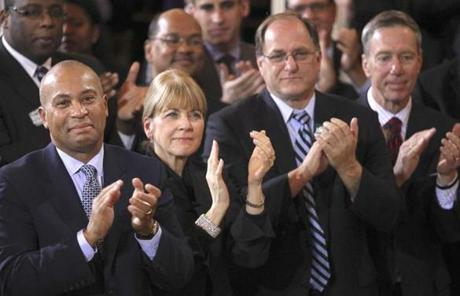 Governor Deval Patrick, Attorney General Martha Coakley, and US Representatives Michael E. Capuano and Stephen Lynch applauded Menino.