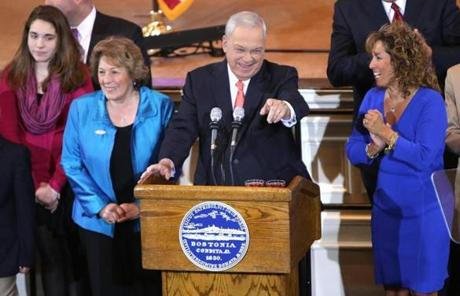 Mayor Thomas M. Menino with his wife, Angela, to his right.