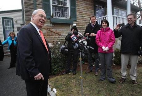 Mayor Thomas M. Menino left his Hyde Park home on the morning of March 28, before he announced that he would not seek an unprecedented sixth term as mayor.