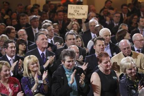 Boston, MA - 3/28/13 - A sign in the crowd as Mayor Thomas Menino announces that he will not be seeking re-election for the Mayor of Boston at Faneuil Hall. (Globe staff photo / Bill Greene) section: metro, topic: 29meninomain