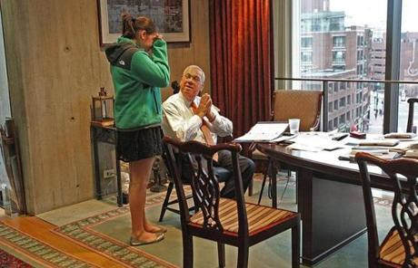Menino spoke with his emotional granddaughter Olivia Fenton in his office after he informed his staff of his decision.