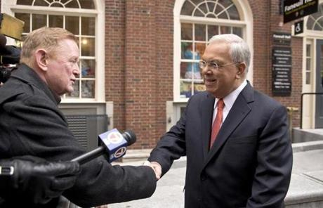 Menino greeted an old friend at Faneuil Hall, Jerry Quinn, former owner of The Kells in Allston.