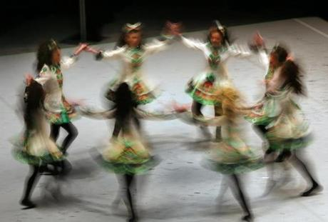 The Ryan-Kilcoyne School of Irish Dancing from Pennsylvania swirled on the stage.