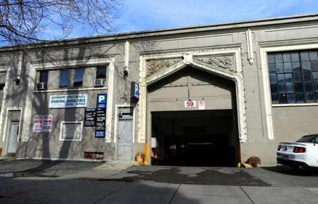 A two-story garage on Queensbury Street in Boston owned by Tutunjian.