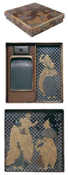 Circa 1600 writing utensil box of wood with black and colored lacquer and decorated with figures of Europeans.