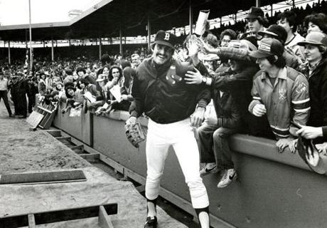 April 14, 1980: Bruce Hurst of the Red Sox playfully interacted with the fans before the game. Hurst was supposed to be the first lefthander and second rookie to start a home opener for the Sox, but a rainout in Milwaukee pushed his start back. Dennis Eckersley ended up with the 3-1 win against the Detroit Tigers.ers.