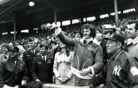 April 6, 1973:  Ed Folger of Lancaster, MA threw out the first ball on Opening Day. Folger, who had been a minor leaguer in the Red Sox system, had his leg amputated in a farm incident the previous September. This game also marked the inauguration of the