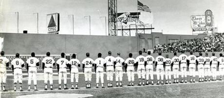 April 16, 1968: The 1968 Red Sox lined up for the National Anthem before the start of the game. The final score, Detroit 9, Boston 2 was a disappointment for the crowd of 32,849, the largest in eight years for a Fenway opener.