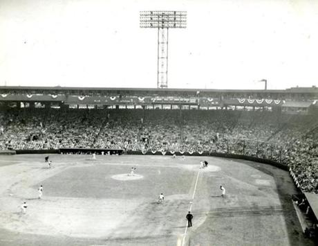 April 17, 1956: 32,563 fans cheered the Red Sox on to victory over the Baltimore Orioles in their 1956 American League opener. Ted Williams slammed two doubles to left and a single to center to foil the shift put on by the Orioles. Righthander Frank Sullivan fired an 8-hitter to give the Red Sox an 8-1 victory.