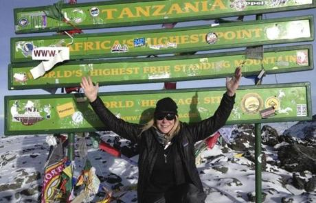 SLIDER Vanessa O'Brien -- Kilimanjaro 19,340 feet Summited on March 10, 2013 Photo by Davina Kaile