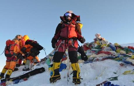 SLIDER Vanessa O'Brien on Mt. Everest 29,035 feet May 19, 2012 Photograph by Atte Miettinen