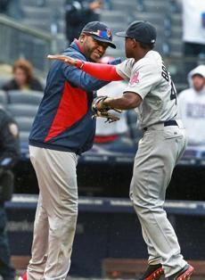 Bradley won kudos from David Ortiz as the Red Sox celebrated their victory. Said Bradley,