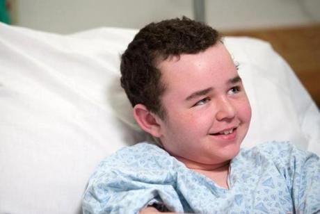 Justin Griffin, 13, after the laser surgery on his brain last month.