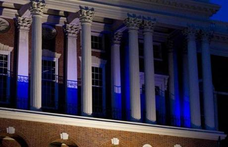 The State House showcased blue lighting for the event to mark World Autism Awareness Day.