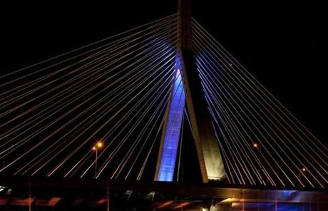 The Zakim Bridge was lit to participate in the event.