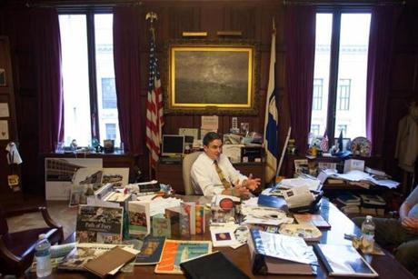 Springfield Mayor Dominic Sarno is shown during an interview about the possibility of a casino coming to the western Mass city, in his city hall office in Springfield, MA on Wednesday, July 18, 2012. (Matthew Cavanaugh for The Boston Globe)