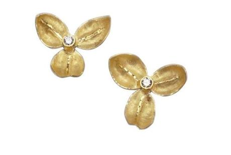 """Trillium"" 18-carat gold and diamond earrings, $675, by Liz Norkus, East Providence, Rhode Island, liznorkus.com"
