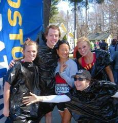From left, Nicole Ogin, Patrick McMahon, Yeemay Su Miller, Caitlin Egan and Kelly Buckley at start of 2011 Boston Marathon. They were running for GoKids Boston.