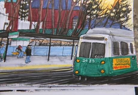 The artist spends about half an hour at each MBTA station, often sketching the lines of her drawings at the location and then moving to a nearby coffee shop to refine the ideas.