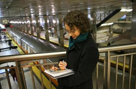 aura Meilman, an artist drawing all the MBTA stations, sketched a scene at North Station.