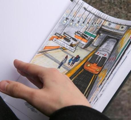 The 24-year-old artist plans to visit and draw each of the MBTA's 121 subway and streetcar stations and their environs.