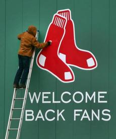 And the Red Sox logo was attached to the wall also.