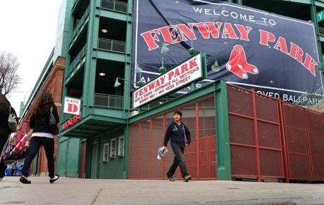 Signs hung around the park welcoming fans to Fenway's 101st season.