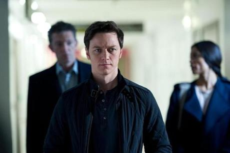 From left: Vincent Cassell as Franck, James McAvoy as Simon, and Rosario Dawson as Elizabeth