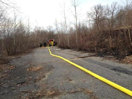 Boston firefighters battled a brush fire off Victoria Heights Road.
