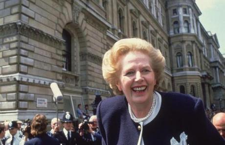 Prime minister Margaret Thatcher of Britain rode down Downing Street in London at the start of her third term in office.